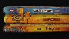 INDIA Nag Champa OM 3 Kings 60 GR Incense Sticks 3 Scent Sampler Gift Set