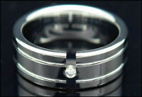 Mens Tungsten Carbide Ring CZ Stone Polished Mirrored Wedding Band 8mm