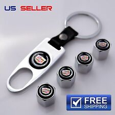 CADILLAC VALVE STEM CAPS + KEYCHAIN WHEEL TIRE CHROME VS18 - US SELLER