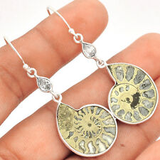 Fossil Pyrite Ammonite & White Topaz 925 Silver Earrings Jewelry SE96198