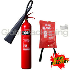 NEW 5KG CO2 CARBON DIOXIDE INDUSTRIAL FIRE EXTINGUISHER + FIRE BLANKET 1M X 1M