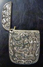 {BJSTAMPS} VINTAGE Ornate ANTIQUE STERLING SILVER Lighter/Match Case w/ Lady