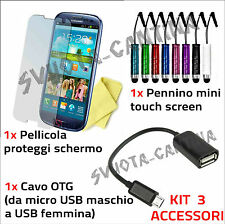 KIT 3 ACCESSORI PEN CAVO USB PELLICOLA OTG PER SAMSUNG GALAXY S3 MINI i8190
