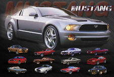 """EVOLUTION OF THE FORD MUSTANG SPORTS CAR POSTER     LARGE 24""""x36""""    - NEW"""