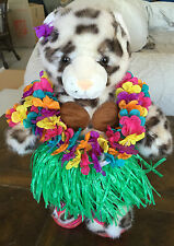 """Build A Bear SNOW LEOPARD WWF IN HULA OUTFIT World Wildlife Series 14""""-2006-NWOT"""
