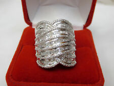 HUGE 1 Carat Round Baguette Diamond Wide Statement Band Ring Silver Sz 8