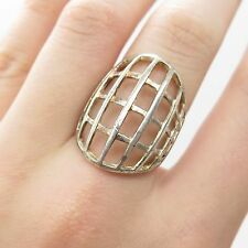 925 Sterling Silver  Wide Handmade Modernist Ring Size  6 3/4