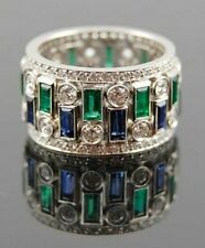 9ct Blue Green baguette cz updown Eternity Band 925 Sterling Silver Party Ring