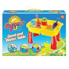 KIDS SAND AND WATER TABLE GIRLS BOYS SANDPIT OUTSIDE WATERING CAN SPADE PLAYING
