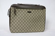 Gucci Portfolio Briefcase Attache Laptop Case Sleeve Brown Leather guccissima