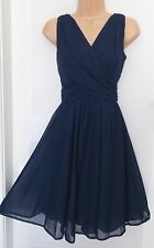 New size 8 navy blue drape bodice party occasion dress £25