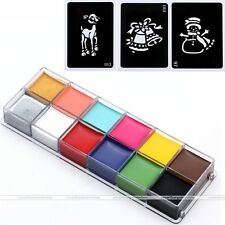 12 Colors Face Oil Painting Party Make Up Guide Rainbow Kit Set + Xmas Stencils