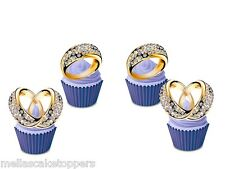 12 x Wedding  Diamond Ring  Stand Up Edible Cupcake Toppers Wafer Paper Card