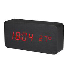 Red Letter Led Digital Table Desk Alarm Clock Sound Wood Wooden Temperature New