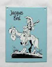 Plaque émailléé BD - Lucky luke Jacques Brel / 1987 MORRIS / EMAIL BELGE / RARE