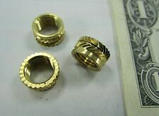 "25 Solid Brass Knurled Switch Mounting Nuts, 3/8-24 x 1/4"" Wide Threaded Inserts"