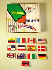 Vintage 1970's Flags of the World Pencil Sharpener 4 doz in display - Hong Kong