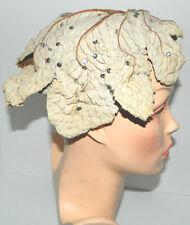 RARE Vtg REAL MAPLE LEAF Millinery Pixie Fairy Juliette Cap/Hat Profile w/Sequin