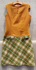 Vintage Retro 1960s Twiggy Mod GoGo Mini Tartan Checked Wool Pinafore Dress, 8