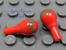 NEW Lego Minifig Band Instrument MARACAS Red & Green Minifigure Music Accessory