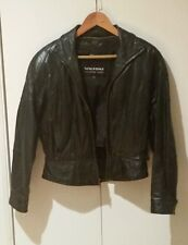 Vintage 1980's Wilson Black Leather Motorcycle Jacket Women's Medium Thinsulate