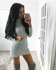 Boutique Shop Grey Chunky Knit Cable Polaneck Rare Jumper Dress Top 8 10 12 14