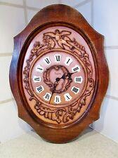 Ancienne horloge pendule à pile vedette- décor oiseaux-avec sonnerie fonctionne
