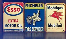 MICHELIN/ESSO/MOBILGAS Vintage Style METAL SIGN Garage Decor 40x30Cm Set Of 3