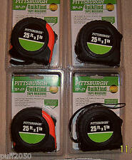 Lot of (4) 25 ft.x 1in.Tape Measure Pittsburgh QuikFind Standard, Inches/Fe
