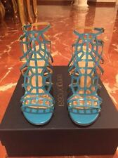 NWB$384 Sergio Rossi Women's Paradise Turquoise Aqua Caged Strappy Sanals 38/8US