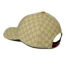 Auth GUCCI Men's GG Guccissima Web Stripe Baseball Cap ~ Beige Sz L ~ NEW