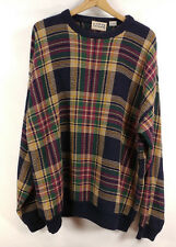 Mens Cotton Traders Plaid Navy Sweater - XL