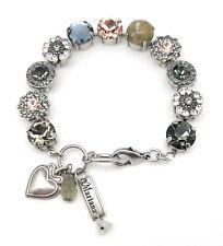 """MARIANA M1035 """"Luxury"""" Montana w Peach & Silk Swarovski Silver Bracelet 7"""" - 8"""""""