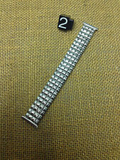 19mm VINTAGE MEL STAINLESS STEEL STRETCH WATCH BAND FILE CUT DOWN END 16 17 18mm