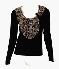 NAEEM KHAN Black 100% Cashmere Pink Pearl & Crystal Embellished Sweater S