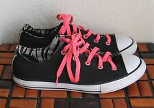 Women's Converse All Star Size 6 Junior Black Zebra Stripped Lining Pink Laces