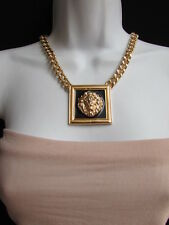 New Women Necklace Gold Chunky  Big Tiger Black Portrait African Lion's Face