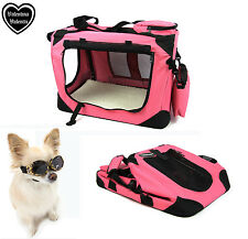 Valentina Valentti cat dog puppy pet canvas carrier transport soft crate S pink