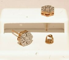 Gold & Diamond Man's Stud flower Earrings Screw Back Brand new jewelry
