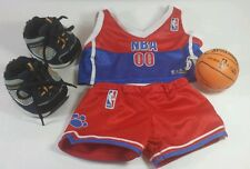 Build a Bear NBA Red 2pc Basketball Outfit w/ Blue Skecher's Shoes & Basketball