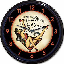 """OLD SCHOOL"" TATTOO CLOCK SAILOR BEWARE MARTINI PIN UP MAN CAVE TAT PARLOUR 10"""