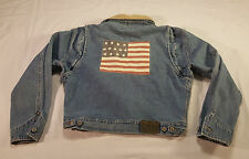 Polo Ralph Lauren Dungarees Jean Jacket MED American Flag VTG 90s Made in USA