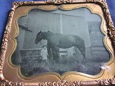 1/6 Tintype Little Girl at Feet of Large Horse w/Father Behind in Mat and Frame