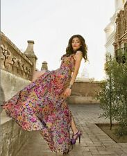 ❤️DESIGNER❤SAMPLE Unique Upscale Silk Bustier Maxi Dress Paint Splatter Floral