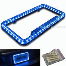 54 Blue LED Lighting Acrylic Plastic License Plate Cover Frame Universal 1