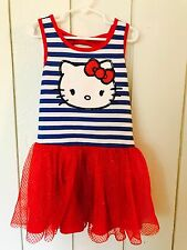 Hello Kitty Girls Size Small 6 6X Red White Blue Striped Sparkle Tulle Dress