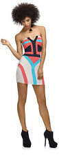 HOUSE OF DEREON PRINTED  BODYCON TUBE DRESS SIZE UK S/8