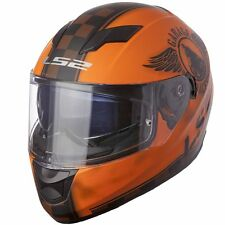 MEDIUM LS2 FAN Matte Orange Full Face Motorcycle Helmet w/Sun Shield