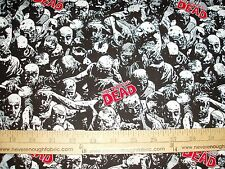 Cotton Fabric The Walking Dead overall zombies blood skulls gore  BTY