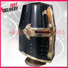 Crusader Templar Knight Armour Helmet With Black & Brass Design Helmet
